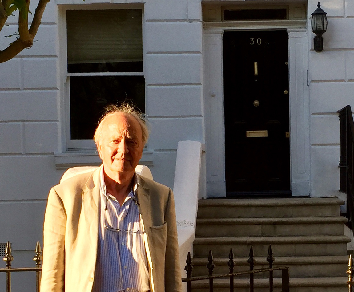 The author today outside 30 St Ann's Terrace, the family home which was under intense MI5 surveillance in the 1950s.